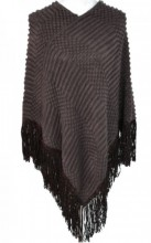 R-B8.1 Luxury Poncho with Suedine Fringes Brown