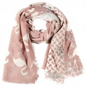 X-E5.2 S106-002 Square Scarf with Flamingos and Glitters 140x140cm Pink