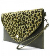 R-L7.2  BAG1202-020 PU Clutch with Leopard Print 24x15cm Green