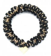 D-D9.1 H2039-001B Hair Elastic with Faceted Glass Beads Black