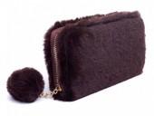 Q-F7.2  WA012-008 Wallet Fake Fur 19x10cm Brown