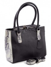 R-J6.2 Luxury Leather Bag 35x26cm Grey- White