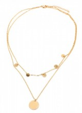 G-F22.2 N304-046 Necklace 2 Layers Coins Gold