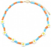 B-B2.1 N1561-172 Necklace Beads and Flowers White-Blue-Orange