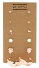 F-B6.1  E426-019 Earring Set 6pcs Rose Gold