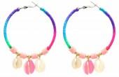 F-D22.2 E536-070B Earrings 5.5cm Creoles Shells Multi-Pink