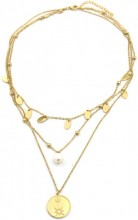 C-B15.2 N2020-004G S. Steel Layered Necklace Coins and Pearl Gold