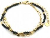 F-C18.1 B1561-101G S. Steel Bracelet with Glass Beads and Coins Gold