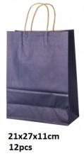 Y-A2.6 Black Paper Bag 21x27x11cm 12pcs