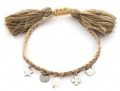 B-C10.1 B220-033S S. Steel Rope Bracelet with Charms and Pearl Brown-Silver
