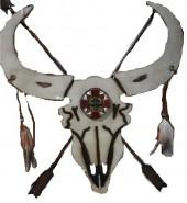 Flat Skull wood with Metal #35671 65x58cm