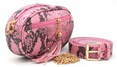 T-H3.2  BAG212-006 PU Snakeskin Combination Bag incl Belt Pink