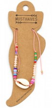 E-B2.1  ANK221-013 Anklet with Beads and Shell Pink