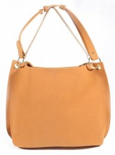 Y-E2.4  BAG112-002 Trendy Shopper with Metal Chain Brown