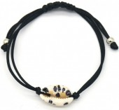 D-B4.5 B2001-057A Bracelet with Leopard Shell Black
