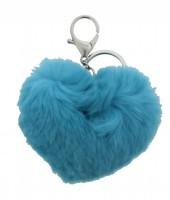 J-A9.1 Keychain Fake Fur Heart Blue