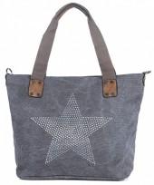 Q-H4.1  BAG017-005 Grey Canvas Bag with Studded Star  43x31x16cm