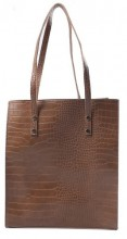 Y-B3.1 BAG417-003A PU Shopper Croco 33x29x10cm Brown