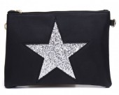L-D2.1 BAG012-007 Cross Body Bag with Star and Glitters 23x16cm Black
