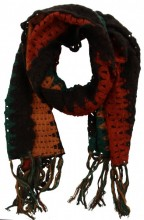 K-C2.1 Knitted Scarf with Fringes Color Blocking Multi Color 50x180cm