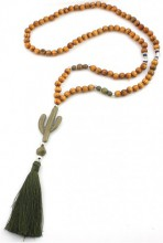 I-C11.1 N021-010 Long Wooden Necklace With Buddha and Cactus 85cm