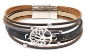 B-B15.5 B104-003 Leather Bracelet with Tree of Life Black