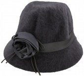 T-B5.7 Woolen Hat with Ribbon and Flower Grey