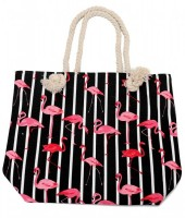 K-E7.1 BAG217-002 Striped Beach Bag with Flamingos 43x34cm Black