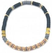 E-D4.3 B1941-001D Surf Bracelet with Metal Beads Black-Grey