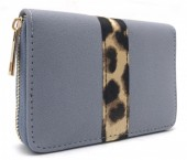 Q-E6.2 WA420-008 PU Wallet with Animal Print 15x10cm Blue