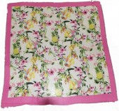X-H9.2  SCARF508-003B Square Scarf with Flowers and Birds 130x130cm Pink