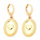 E-C6.5 E304-007 Metal Earrings Heart Gold