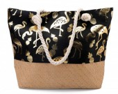BAG217-004 Beach Bag with Wicker and Metallic Flamingos and Pineapples  54x40cm Black-Gold