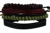 D-F16.1 E032-004 Unisex Bracelet Set Rope-Wood-Leather