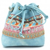 Y-B3.3  BAG012-010 Boho Style Bag Blue 22x25cm