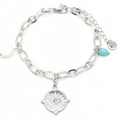 D-B4.2 B220-013S S. Steel Bracelet Charm and Pearl Silver