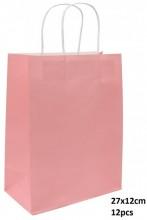R-P3.2 PK525-003B Paper Giftbag 27x12cm Pink 12pcs