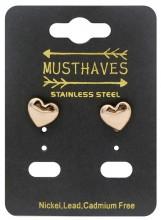 A-E7.1  E410-006RG S. Steel Earrings Heart 10mm Rose Gold