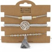 H-A7.5 B019-001 Bracelet Set 3pcs Dreamcatcher and Tassel Grey