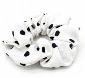 S-D7.3  H002-013 Scunchie Polka Dots White