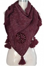 Y-A3.1 Scarf with Glitters-Pompons and a Studded Peace Sign 160x70cm Triangle Purple