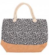 Y-D1.3 BAG213-001 Beach Bag with Animal Print 50x36cm Brown-Grey