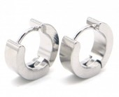 A-B6.4 E301-034 S. Steel Earrings 13x4mm Silver