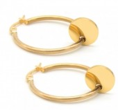 A-C6.4 E015-012 Stainless Steel Earrings 25mm Gold