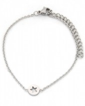 A-C19.3 B1842-002 Stainless Steel Bracelet on Giftcard with Star Silver