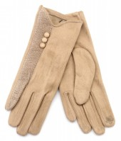 R-K7.1 GLOVE403-093A Glove Buttons and Snake Print Brown