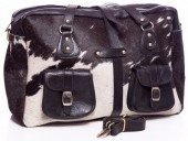 R-A2.1 BAG-907 Large Leather Bag 44x31x13cm Black Leather with Mixed Cowhide