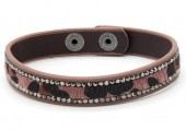 C-E6.8 B1202-214 Bracelet with Leopard Print and Crystals Pink