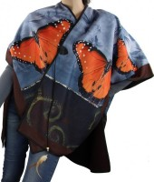 Z-G7.1 Soft Poncho with Feather and Butterflies Brown-Blue
