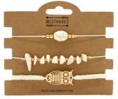B019-054 Bracelet Set 3pcs Stones and Owl Off-White